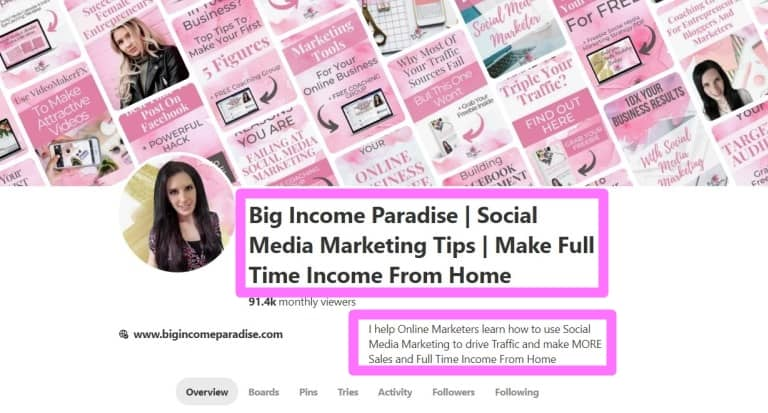 Big Income Paradise Pinterest Business Account - Keywords in name and descritpion