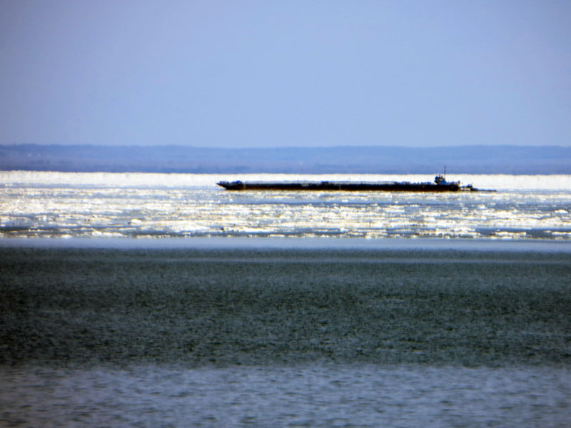 Barge in the ice on Lake Superior