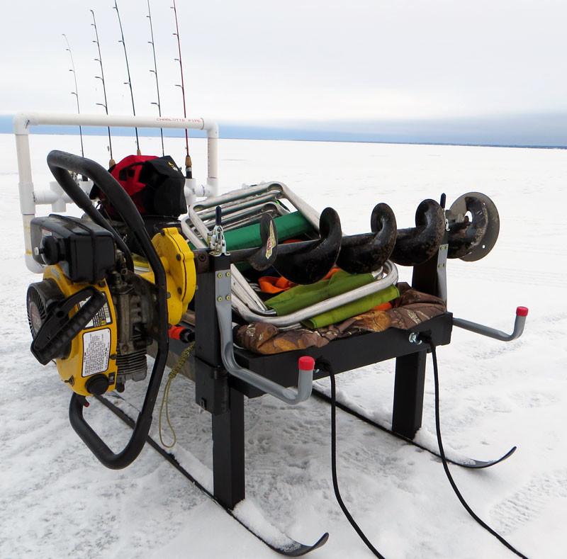 Ice Fishing Sled Auger Mount Rod Rack