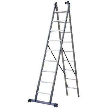 Escalera industrial de aluminio 2×9 peldaños por 118,99€