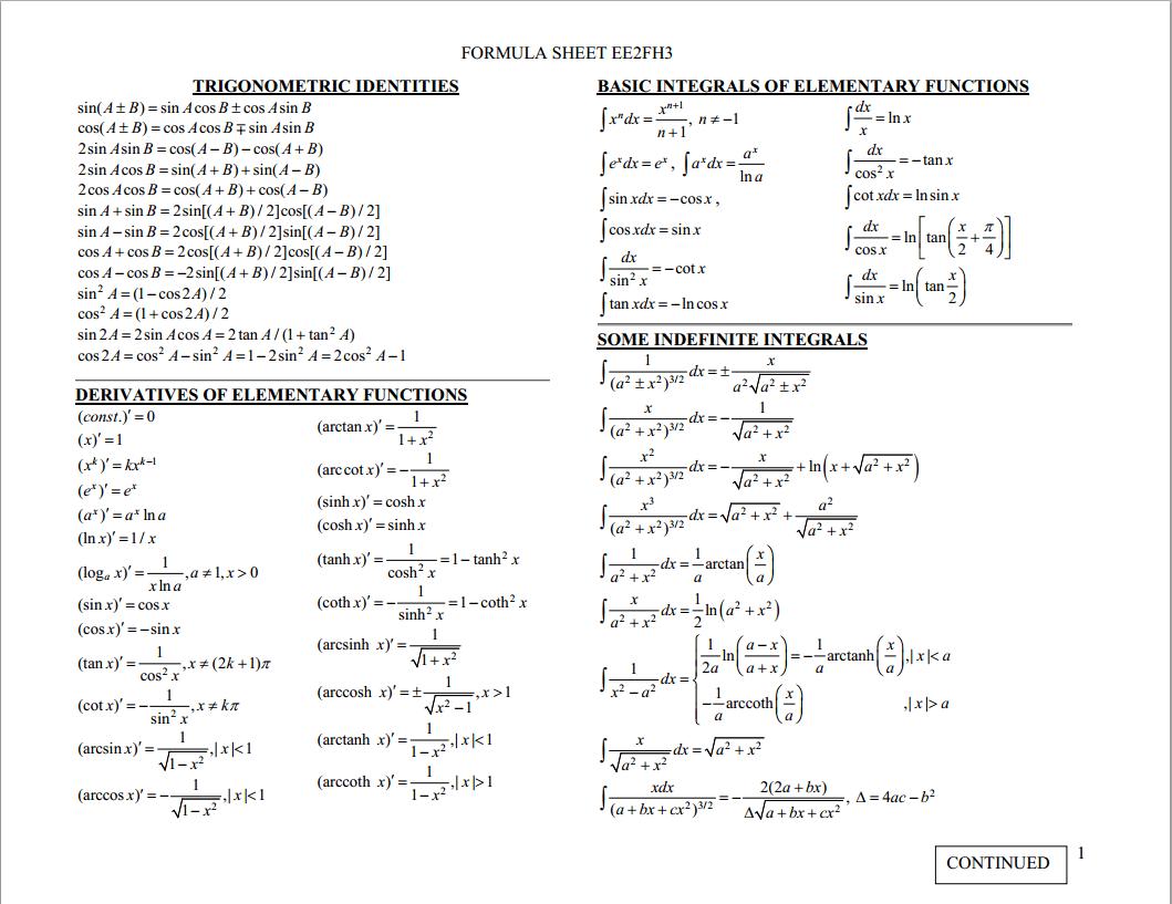 My Electromagnetics Formula Sheet