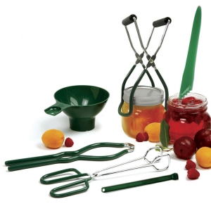 $24.99 Six essential tools for canning and dehydrating. A vinyl coated jar wrench, vinyl coated jar lifter, extra wide mouth canning funnel, tongs with vinyl coated handles, a bubble popper/measurer and a magnetic lid lifter all conveniently in one box. All pieces also available seperately.