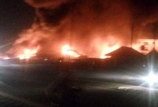 Properties Worth Millions Burnt As Huge Inferno Guts Tipper's Garage In Warri