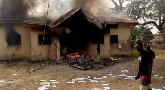 BREAKING! DSIEC Office Set Ablaze In Ughelli