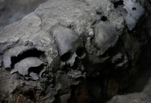 Skulls are seen at a site where more than 650 skulls caked in lime and thousands of fragments were found in the cylindrical edifice near Templo Mayor, in Mexico City