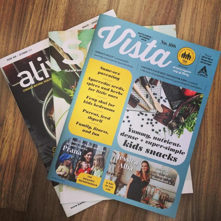 Three of my favourite magazines: @vistamagcanada @sagemagazine @alivemagstl ...great resource for #healthy living #cleanliving and #holisticliving (Check out your local health food store/@loblaws @fortinos for free copies of these magazines)