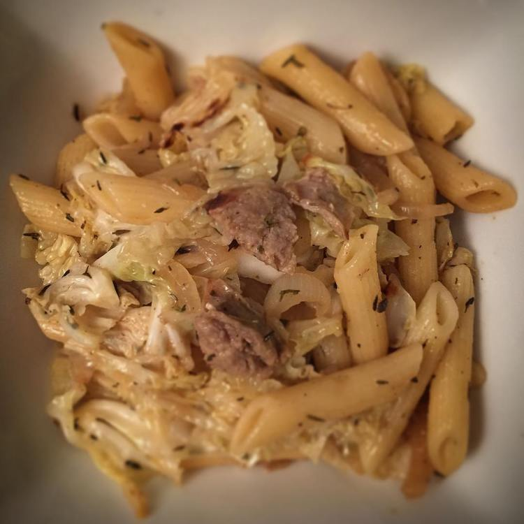 On the menu tonight: Sausage and hay penne with balsamic thyme caramelized onions. *hay=Savoy cabbage