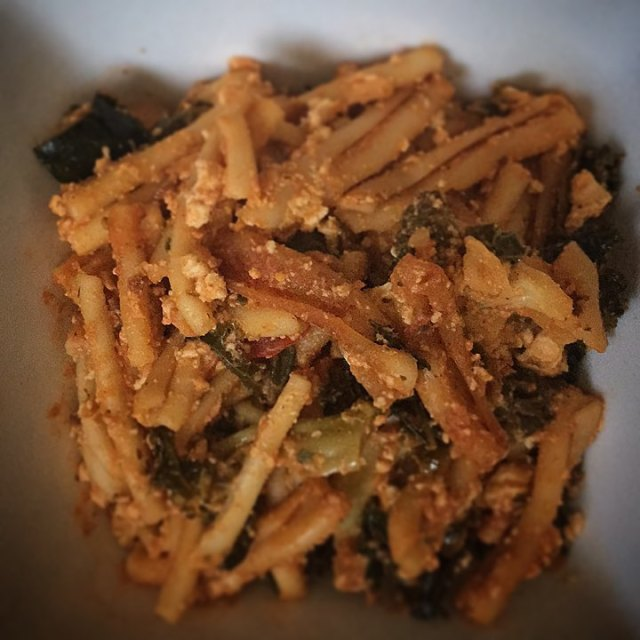 On the menu tonight roasted vegetable pasta with pumpkin tofuhellip