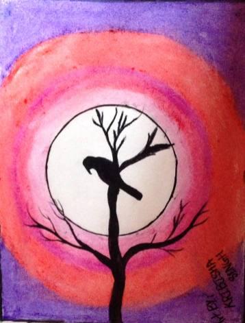 """DUSK AND THE BIRD"" - KRIBSHA S. - AGE 11 - VAJRA ACADEMY, KATHMANDU, NEPAL"
