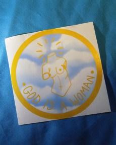 gold-sky-god-is-a-woman-sticker