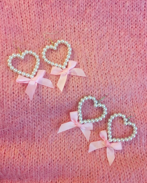 gold-silver-pearl-heart-earrings-pink-vintage-bow
