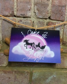 unicorn sleigh cute christmas card design