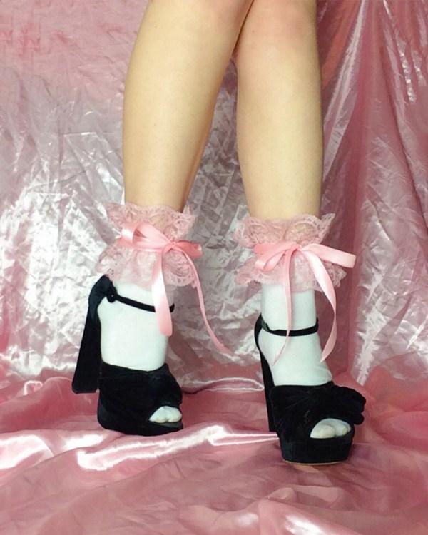 pink-frilly-lace-socks-satin-ribbon-ties