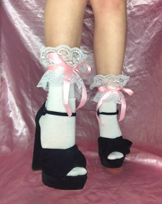 white-frilly-lace-socks-pink-satin-ribbon-bow-ties