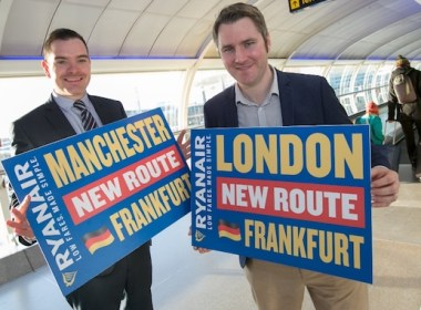 Seb Thompson (Manchester Airport) and Robin Kiely launch Ryanair's new Frankfurt flights
