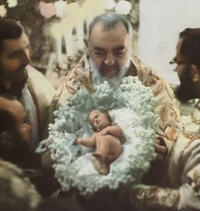 Padre Pio and Baby Jesus at Christmas