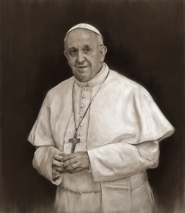 Pope Francis in Black and White Charcoal