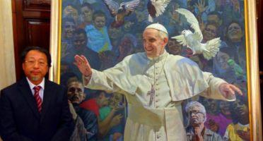 Shen Jiawei Portrait of Pope Francis Original Pic