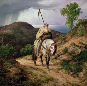 The Return of the Crusader, 1835 (oil on canvas) by Lessing, Carl Friedrich (1808-80)