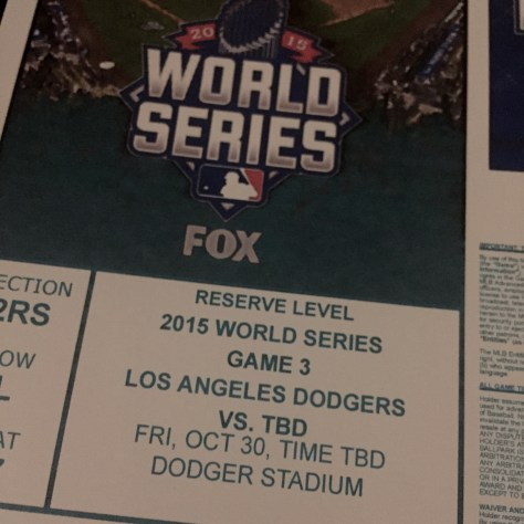 Dodgers 2015 World Series Ticket
