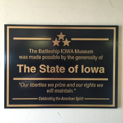 USS IOWA PLAQUE