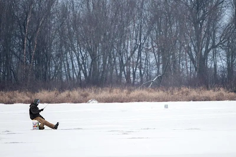 Ice Fishing on Mississippi River in Buffalo City, WI