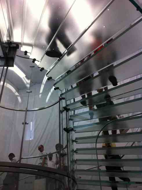 And just for fun... the glass staircase from our visit to the Apple Store (still under construction at the time... or maybe they were remodeling) in New York City across from Central Park. Are there ghosts here? Who knows?!