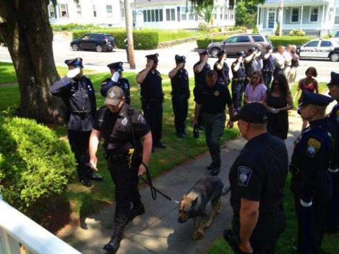 Members of the Plymouth, Mass. police department salute their K-9 companion as he's walked into the vet's office to be put down. (Picture via Old Colony Memorial and Plymouth Police Working Dog Foundation. Caption via WLS-TV Facebook page.)