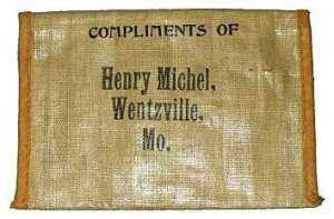 A tobacco pouch from Johnnie's father's general store in Wentzville, Missouri.