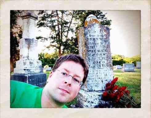 Today I made another visit to the resting places of both  Johnnie and Clara, as part of my new tradition of adopting and researching older graves during the fall season. I decided to give Johnnie the opportunity to jump in the photo with me... assuming he was there visiting as well.