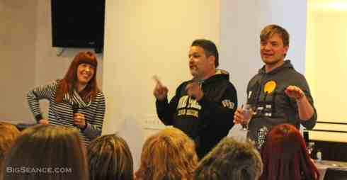 Amy Bruni, Britt Griffith, and Adam Berry speaking to the crowd at Belvoir Winery earlier this year.