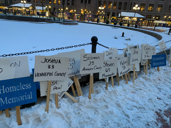 Signs at the homeless memorial 2019