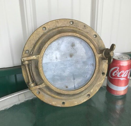 salvaged one-dog nautical brass porthole