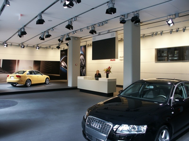 Audi Forum NYC showroom interior media track