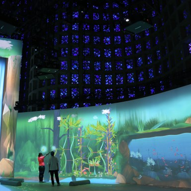 NY_Hall_of_Science_Interactive_Projection_of waterfall and wall