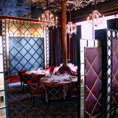 """Jean Georges """"V"""" private dining with quilted partition"""
