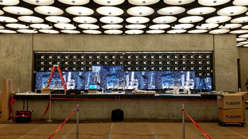 Met Breuer Building lobby LED digital signage wall during installation.