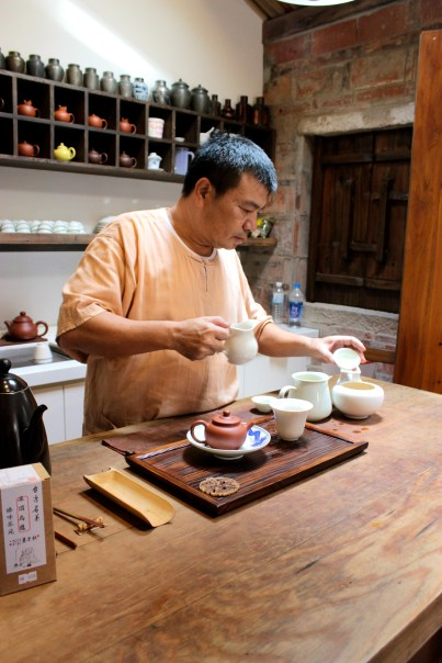 The owner of Chen-Wey Teahouse on Dihua Street