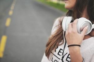 girl, music, headphones