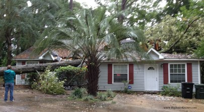 Our neighbors' house after a tree fell on it during an afternoon storm. (Photo by Ashley Jones, 2015)