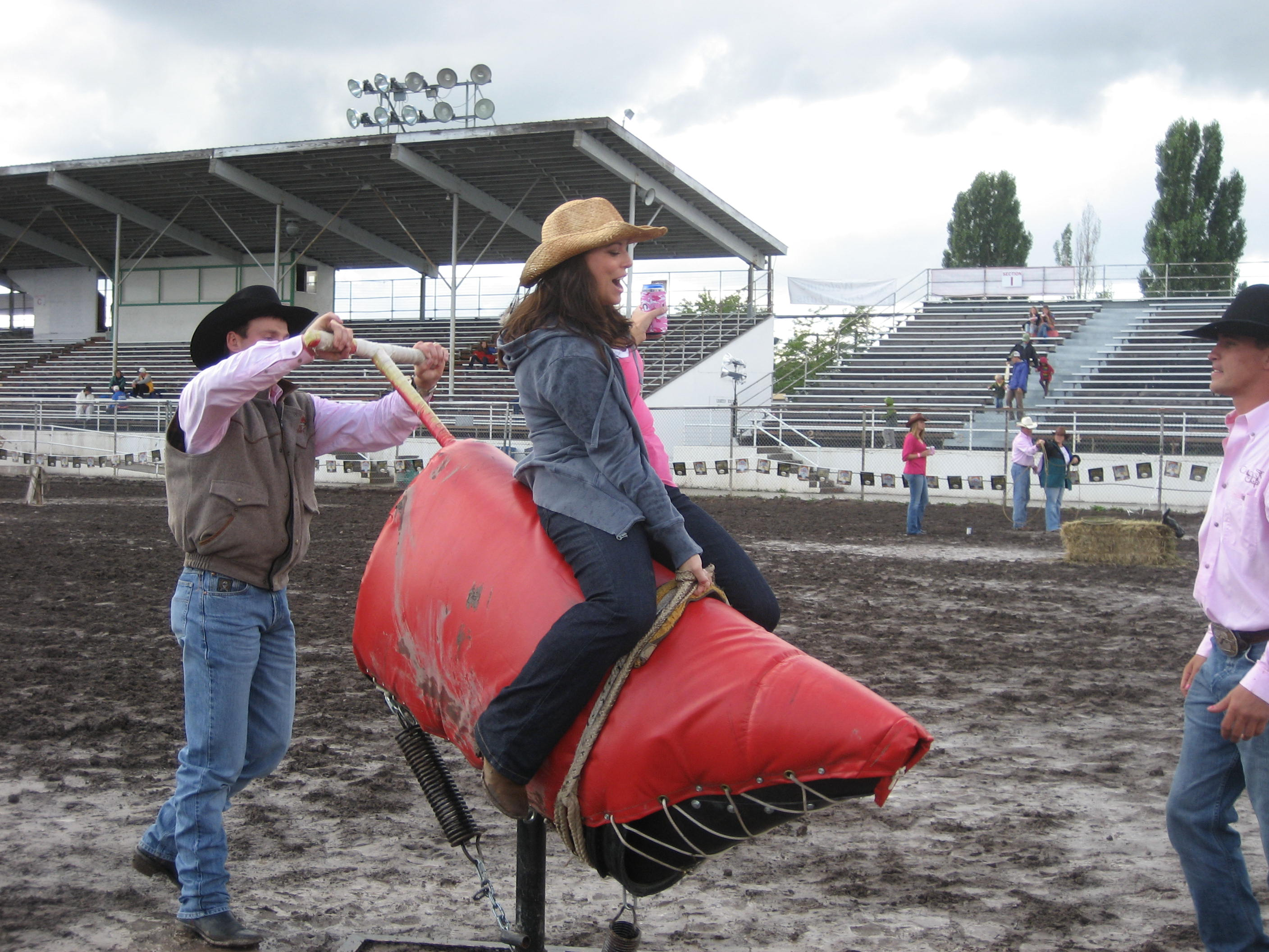 And she didn't even spill her beer, budding bull riding talent!