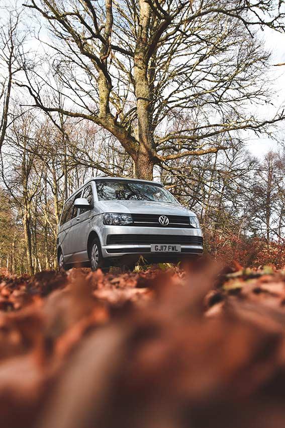 Autmn leaves and VW transporter campervan