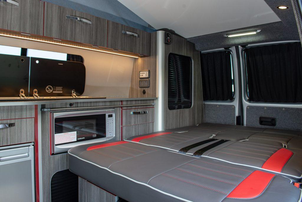 vw campervan sleeping area