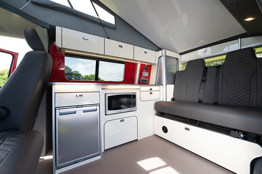 VW campervan hire Scotland kitchen area