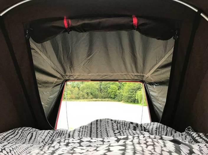 Bedroom view jeep rooftop campervan