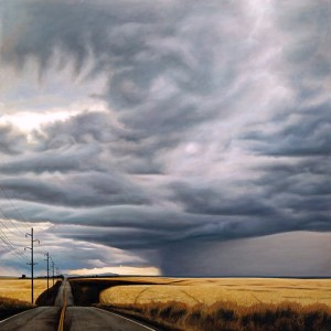Highway with a stormy sky