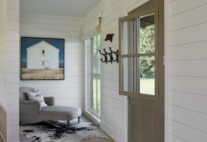 Whitewashed wood plank walls help to create peaceful and bright living spaces.