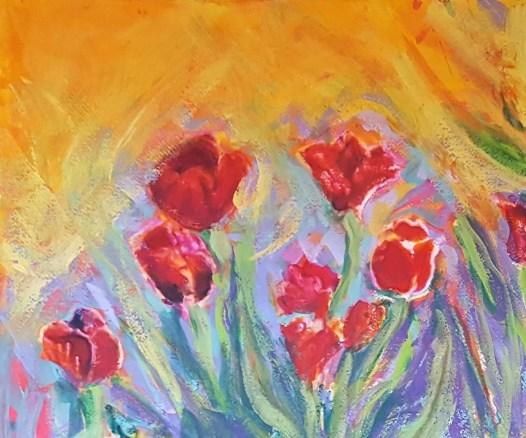 Tulips water media