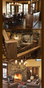Top: Moving to a more classical Craftsman design, the artistry of the built-in cabinets showcases PDG's hand at creating comfortable, custom living spaces. Center: Rustic materials are incorporated in this contemporary staircase that combines, stone, me