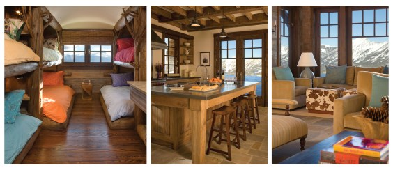 Left: The upper level has two identical ranch style bunkrooms, each with five log bunks and modern trough-like sinks. The rooms serve as a place for the kids to escape to as well. Center: The kitchen resembles that of an old lodge, with rustic wood cabine